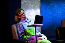 Matt Baughman (Stephen Hawking). Photo by Joe Williams.