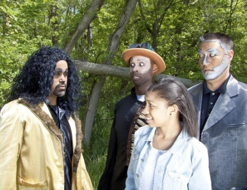 Keith Alexander as Lion, Sedrick Moody as Scarecrow, Nia Smith as Dorothy and Zadoc Kekuewa as Tin Man.  Photo courtesy of Tantallon Players.