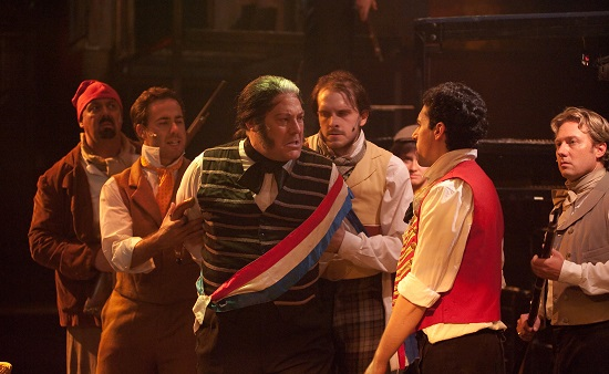 Javert (played by Lawrence B. Munsey) - center - is exposed as a police spy.  Left to Right:  David Bosley-Reynolds, Nick Lehan, Lawrence B. Munsey, Will Emory, John Dellaporta, Jeffrey S. Shankle.  Photo by Kirstine Christainsen.