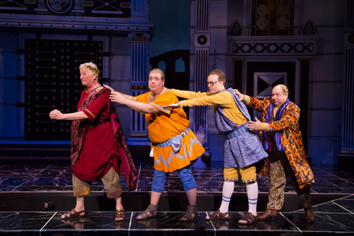 Steve Vinovich as Senex, Bruce Dow as Pseudolus, Tom Story as Hysterium and  Danny Rutigliano as Marcus Lycus  in the Shakespeare Theatre Company's production of A Funny Thing Happened on the Way to the Forum, directed by Alan Paul. Photo by T. Charles Erickson.