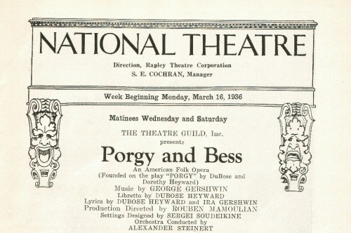 Poster of 'Porgy and Bess' from 1936 at The National Theatre.  Photo courtesy of The National Theatre.