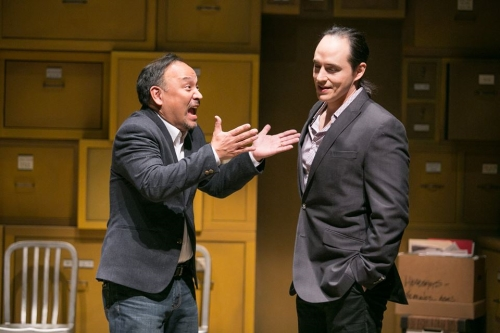 Stan Kang as DHH and Rafael Untalan as Marcus G. Dahlman aka Marcus Gee in Yellow Face. Photo by C. Stanley Photography.