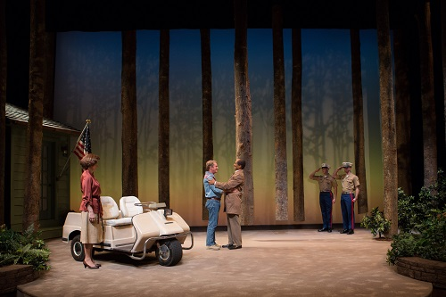 Hallie Foote as Rosalynn Carter, Richard Thomas as Jimmy Carter and Khaled Nabawy as Anwar Sadat with Will Beckstrom and Will Hayes in 'Camp David' at Arena Stage at the Mead Center for American Theater March 21-May 4, 2014. Photo by Teresa Wood.