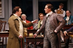 "Brooks Ashmanskas as John Adams and Robert Cuccioli as John Dickinson in the Ford's Theatre production of ""1776,"" directed by Peter Flynn. Photo by Carol Rosegg."