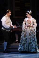 "Brooks Ashmanskas as John Adams and Kate Fisher as Abigail Adams in the Ford's Theatre production of ""1776,"" directed by Peter Flynn. Photo by Carol Rosegg."