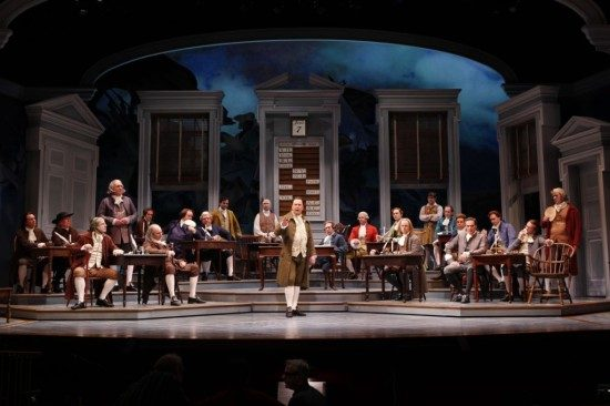 "The cast of the Ford's Theatre production of ""1776,"" directed by Peter Flynn. Photo by Carol Rosegg."