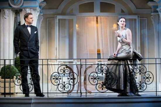 "James Waterston and Bianca Amato in Shakespeare Theatre Company's ""Private Lives."" Photo by Scott Suchman."