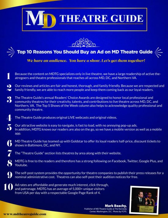 Top 10 Reasons You Should Buy an Ad on MD Theatre Guide
