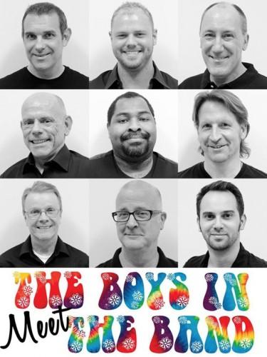 "Mario Font as ""Harold"", Todd Paul as ""Larry"", Jerry Hoffman as ""Alan"", Rob White as ""Cowboy"", Jeffrey Davis as ""Donald"", Malcolm Lee as ""Bernard"", Keith Miller as ""Hank"", Gary Bernard DiNardo as ""Emory"" and Matthew Randall as ""Michael."" Photo supplied by Dominion Stage."