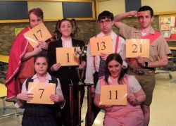 Back row: Jordan B. Stocksdale (Leaf), Alex Levenson (Logainee), Thomas Stratton (William), Joseph Waeyaert (Chip). Front row: Sarah Burton (Marcy), and Tori Weaver (Olive). Photo courtesy of the production.