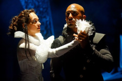 """Salma Shaw as Desdemona and Roger Payano as Othello in Synetic Theater's production of """"Othello."""" Photo credit: Graeme S. Shaw"""