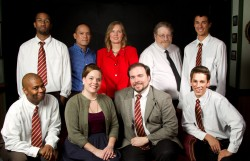 The Cast of Tea & Sympathy at Spotlighters Theatre - L-R, Back Row: Shawn Naar, Jose Teneza, Lisa Libowitz, Bob Ahrens, and Justin Johnson. Front Row: Kevin D. Baker, Karina Ferry, Todd Krickler, and Dennis Binseel. Photo by Ken Stanek - Ken Stanek Photography.