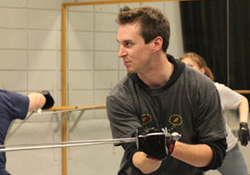 Casey Kaleba teaching a stage combat class at Round House Theatre. Photo courtesy of Round House Theatre.