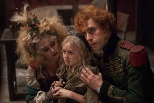Helena Bonham Carter, Isabelle Allen, and Sacha Baron Cohen. Photo courtesy of Universal Pictures.