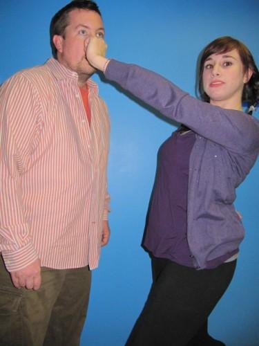 "Matt Williams and Caroline Simpson rehearsing ""The Masochism Tango."" Photo by David Siegel/Connection Newpaper."