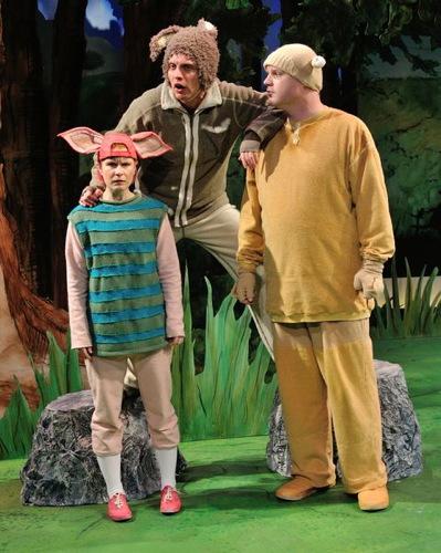 Genevieve James as Piglet, Joshua Morgan as Rabbit and Todd Scofield as Pooh.Photo by Bruce Douglas.