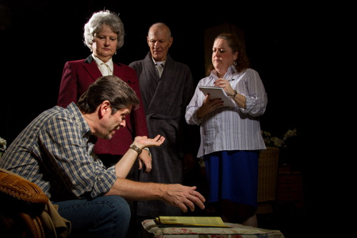 Gavin Clancy (Steven Shriner) discusses with Rose (Joan Crooks) how he would finish the book as Walsh (Denis L. Latkowski) and Arlene (Brenda R. Crooks) look on.Photo by Ken Stanek - Ken Stanek Photography.
