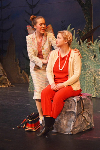 Grace Iekel as Grandmother Hood, Robin Messner as Fairy Godmother. Photo by Larry McClemons.