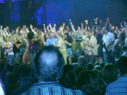 "The audience of 'Hair"" on stage for the finale."