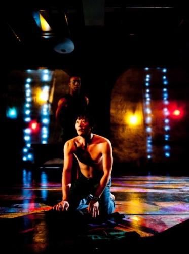 Foreground - Michael Wong as Kafka, Background - Dane Figueroa Edidi as Crow. Photo by Franc Rosario.