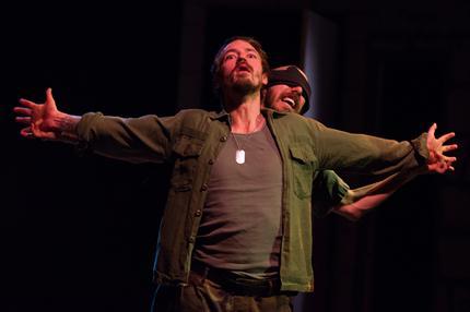 Joe Carlson as Macbeth, Keegan Cassady as Lennox.  Photo by Johannes Markus.