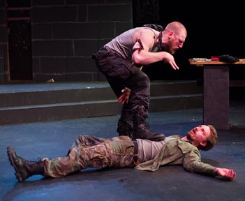 Will Hayes as Hecate, Joe Carlson as Macbeth.  Photo by Johannes Markus.