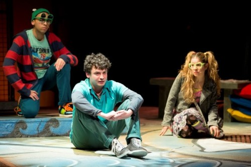 Christopher Wilson as Crazy Glue, Mark Halpern as Jason, Rana Kay as Dream Girl in Jason Invisible. Photo by Scott Suchman.