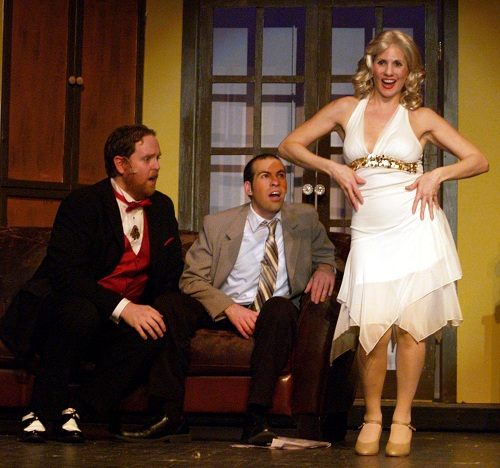 Ulla (Rachel Weir) dances for Max (Ryan Geiger) and Leo (Brian Sackett) Photo by Steve Tyler.