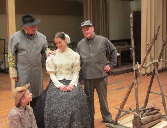 Jemima (Danise Whitlock), Robert (Curtis Westfall), (left) John (Ron Growden) and Uncle Dan (Tom Vogtman). Photo provided by Potomac State College.