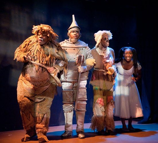 Tobias Young (Lion), Marquise White (Tinman), Bryan Daniels (Scarecrow), and Ashley Johnson (Dorothy). Photo by Kirstine Christiansen.