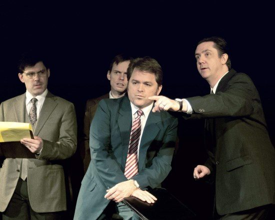 Chris Tully as John Birt, David Dieudonne as Jim Reston, Brendan Murray as David Frost, Jack Scheer as Bob Zelnick.  Photo by Harvey Levine.