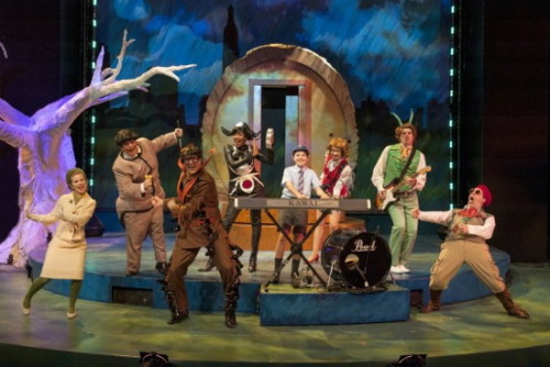 The Company of James and the Giant Peach at Imagination Stage. L to R: Megan Graves as the Mayor's wife, Phillip Reid as Earthworm, Eric Messner as Centipede, Lauren Du Pree as Miss Spider, Sean Silvia as James, Leigh Jameson as Ladybug, Matthew Schleigh as Grasshopper, and Joe Brack as the Director. Photo by Imagination Stage.
