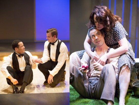 Left: Alex Mills (James) and Jon Odom (Jim) in '2-2 Tango' by Daniel MacIvor. Right: Emily Townley (Elizabeth) and Jens Rasmussen (Tom) in 'Skin Tight' by Gary Henderson. Photos by Igor Dmitry.