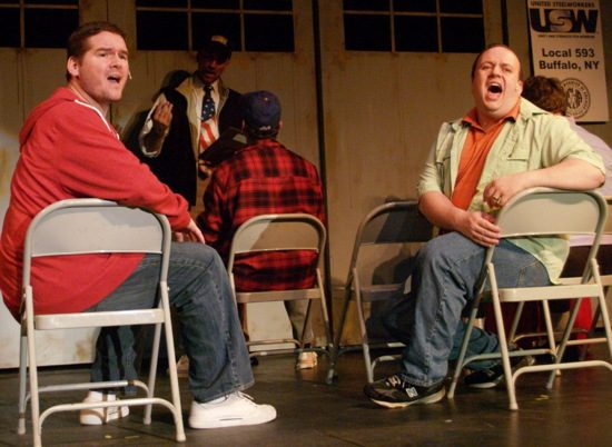 Jerry (Dean Allen Davis, l) and Dave (Micah Chalmer, r) complain about being only Scrap (Neal Townsend and Rodney Chamberlain in background). Photo by Steve Teller.