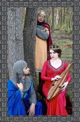 Ben Harris (Lancelot), Emily Mudd (Guenevere) and Gary Seddon (Arthur).  Photo by Debe Tighe.