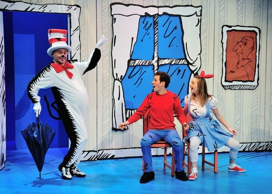 Rick Hammerly as The Cat, Tyler Herman as the Boy, Jessica Shearer as Sally. Photos by Bruce Douglas.