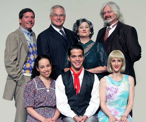 Back row: Gerald (Patrick Martyn), Parchester (Jeff Burch), Duchess Maria (Judi Milgram), and Sir John (James Hunnicutt).  Front row: Sally (Julie Parrish), Bill (Kevin Connell Muth), and Lady Jacqueline (Amy Agnese). Photo courtesy of Cockpit in Court.