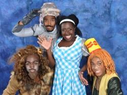 Dorothy (Awa Sal Secka), Kenneth L. Washington, Jr. (Lion), Ian A. Coleman (Tinman) and Kyle Louviere (Scarecrow). Photo courtesy of Monrgomery College College.