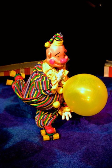 A roller skating clown in the center ring. Photo provided by The Puppet Co.