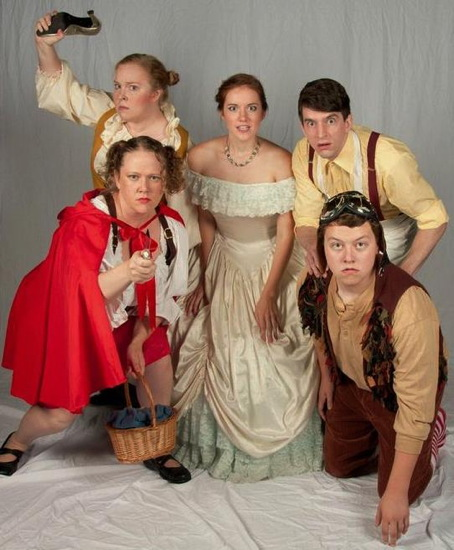 Lauren Winther-Hansen as Little Red Riding Hood, Malinda Markland as the Baker's Wife, Sarah Treanor as Cinderella, Scott Gaines as the Baker and Harrison Smith as Jack. Photo by Rachel Parker.