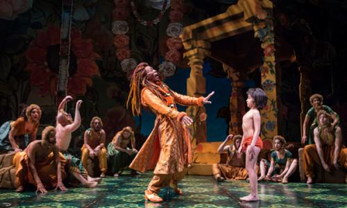André De Shields (King Louie) and Akash Chopra (Mowgli) in Tony Award winner Mary Zimmerman's new musical adaption of 'The Jungle Book. ' Photo credit: Liz Lauren.