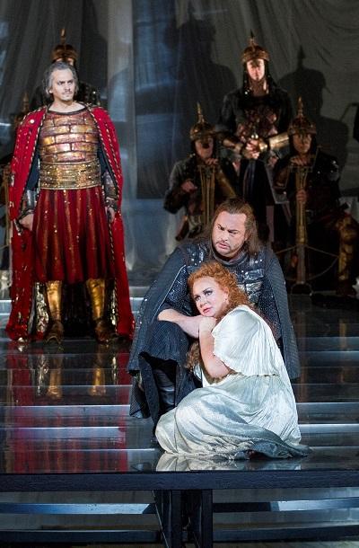 Wilhelm Schwinghammer (King Marke), Ian Storey (Tristan), and Iréne Theorin (Isolde). Photo by Scott Suchman.