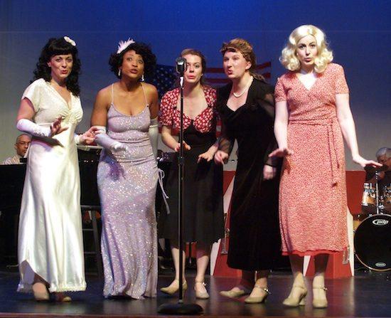 l-r, Ginger (Mary Guay Kramer), Geneva (Samantha McEwen), Dee Dee (Kelly Danforth), Ann (Kelly Rardon), Connie (Emily Biondi). Photo by Steve Telller.