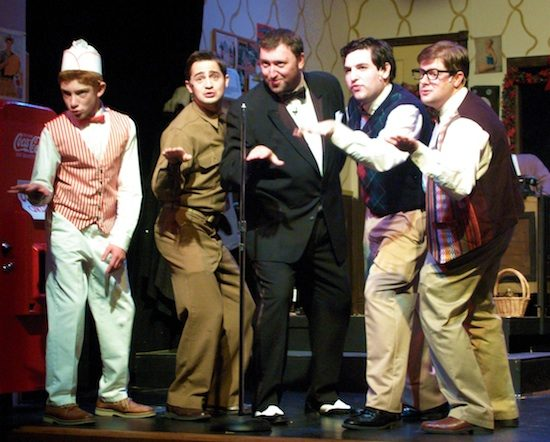 l to r, Wally (Jesse Kinstler), Biff Baker (David Tiernan), Johnny Cantone (James Gross), B.J. (Vince Vuono), and Neal (David Hill).  Photo by Steve Telller,
