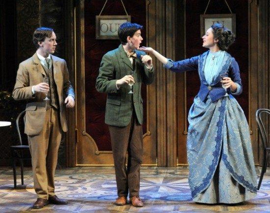 Thomas Beheler as Cornelius Hackl, Aidan Walsh as Barnaby Tucker, Julia Klavans as Mrs. Irene Molloy. Photo by Stan Barouh.