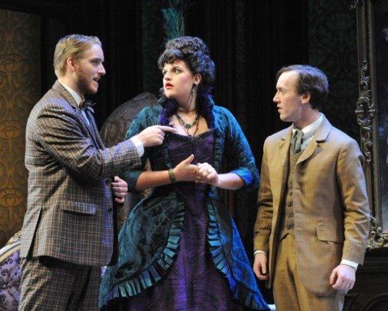 Tom Frances as Ambrose Kemper, Rachel Granbizio as Flora Van Heissen, Thomas Beheler as Cornelious. Photo by Stan Barouh.