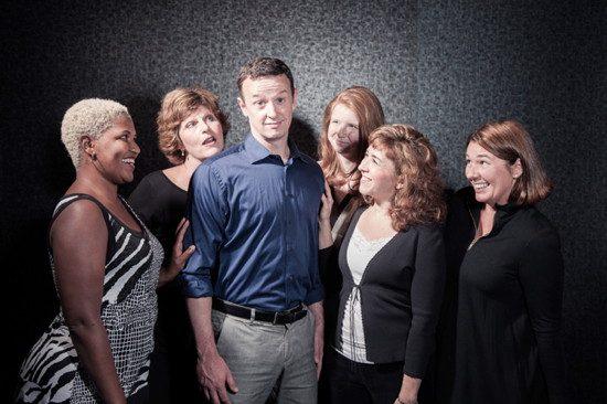 The wives with Robert. Rikki Howie (Sarah), Shannon Wollman (Joanne), Tom Burns (Robert), Molly Doyle (Amy), Jennifer Viets (Jenny), Dianna Waller (Susan).  Photo by Ken Stanek.
