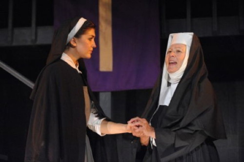 Katie Keyser as Maria and  Jill Compton as Mother Abbess.  Photo by Stan Barouh.