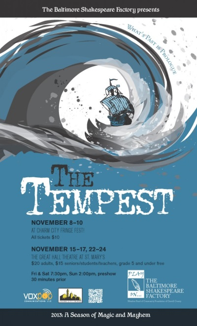 Theatre Review: 'The Tempest' by the Baltimore Shakespeare Factory at The Great Hall at St. Mary's Community Center