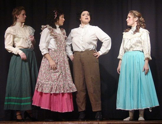 """Meg (Laura Whittenberg), Amy (Andy Kay), Jo (Michelle Hill), and Beth (Sherry Benedek). Photo by MD Theatre Guide Staff Photographer David """"Ace"""" Livingston."""